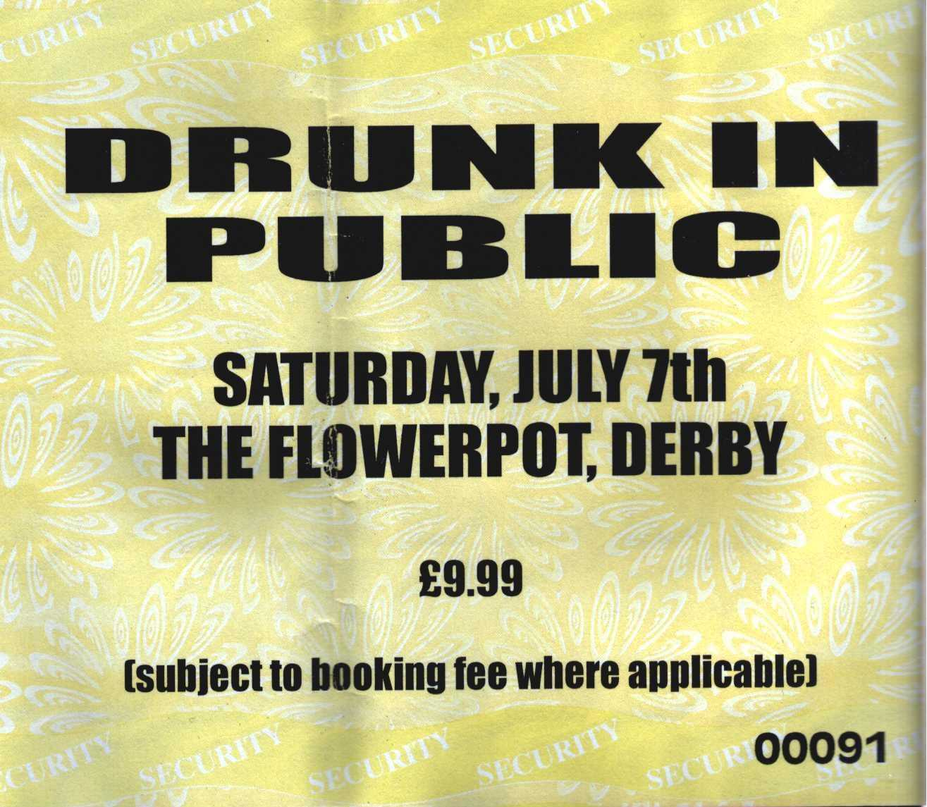 07 July 2001: Drunk In Public - The Flowerpot, Derby, England, UK