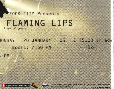 20 January 2003: Flaming Lips - Rock City, Nottingham, England, UK