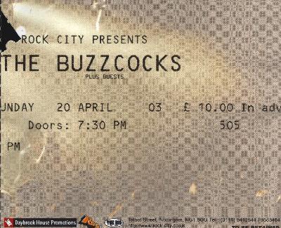 20 April 2003: The Buzzcocks - Rock City, Nottingham, England, UK