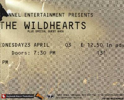 23 April 2003:  The Wildhearts - Rock City, Nottingham, England, UK