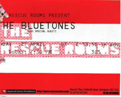 27 April 2003: The Bluetones - Rescue Rooms, Nottingham, England, UK