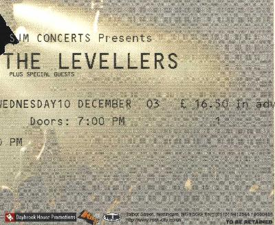 10 December 2003:  Levellers - Rock City, Nottingham, England, UK