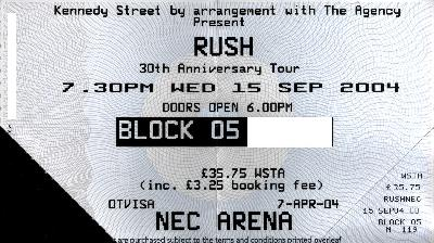 15 September 2004: Rush - NEC Arena, Birmingham, England, UK