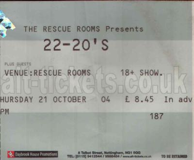 21 October 2004: The 22-20s + Willy Mason - Rescue Rooms, Nottingham, England, UK