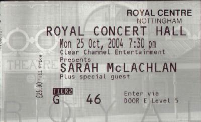 25 October 2004: Sarah McLachlan + Butterfly Boucher - Royal Concert Hall, Nottingham, England, UK