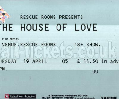 19 April 2005: The House of Love - Rescue Rooms, Nottingham, England, UK