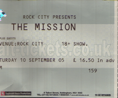 10 September 2005: The Mission - Rock City, Nottingham, England, UK