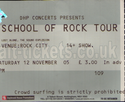 12 November 2005:  The New School Of Rock Tour - Rock City, Nottingham, England, UK