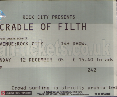 12 December 2005: Cradle Of Filth + Cathedral + Octavia Sperati - Rock City, Nottingham, England, UK