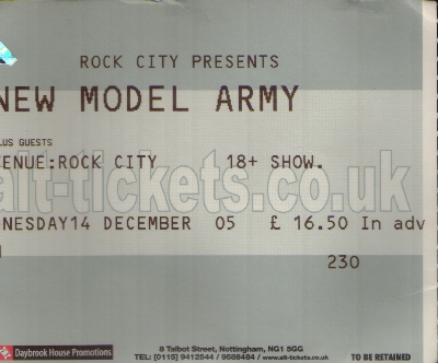 14 December 2005: New Model Army - Rock City, Nottingham, England, UK
