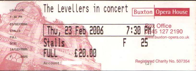 23 February 2006: Levellers - The Opera House, Buxton, England, UK