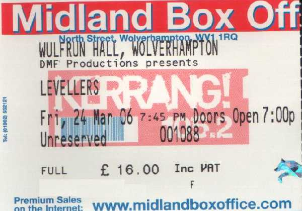 24 March 2006: Levellers - Wulfrun Hall, Wolverhampton, England, UK