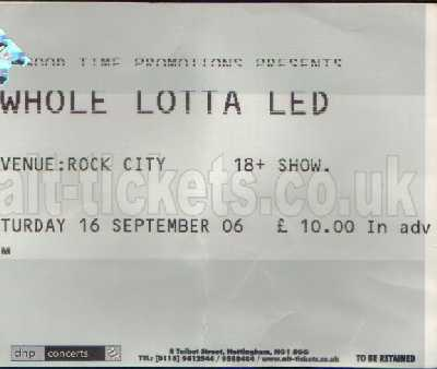 16 September 2006: Whole Lotta Led - Rock City, Nottingham, England, UK