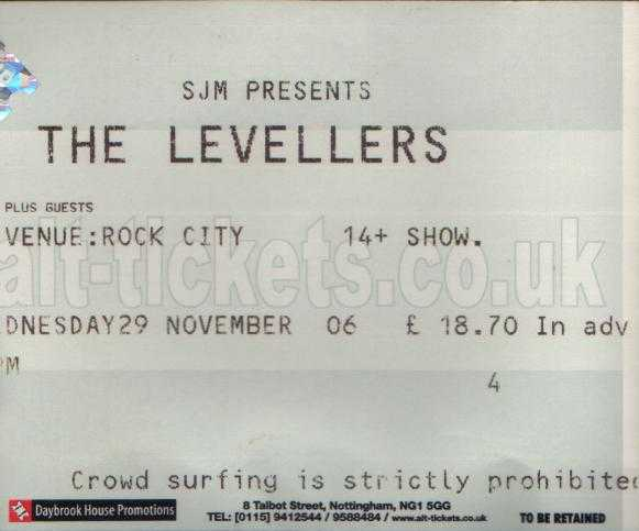 29 November 2006: Levellers - Rock City, Nottingham, England, UK