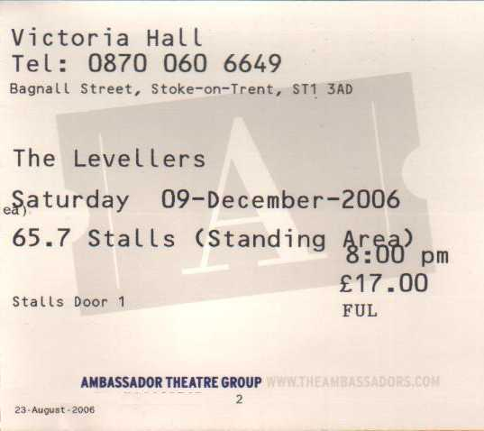 09 December 2006:  Levellers - Victoria Hall, Hanley, Stoke on Trent, England, UK