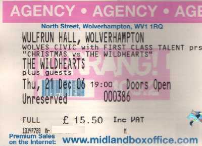21 December 2006:  The Wildhearts - 'Christmas Vs The Wildhearts' - Wulfrun Hall, Wolverhampton, England, UK