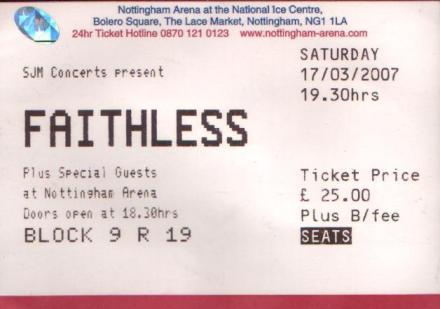 17 March 2007: Faithless - Arena, Nottingham, England, UK