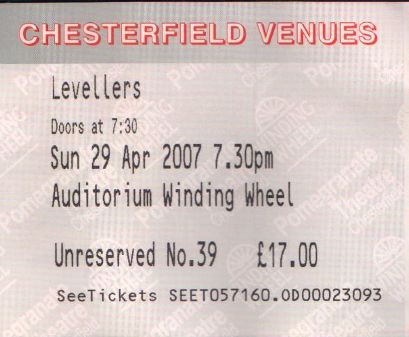 29 April 2007: Levellers - Winding Wheel, Chesterfield, England, UK