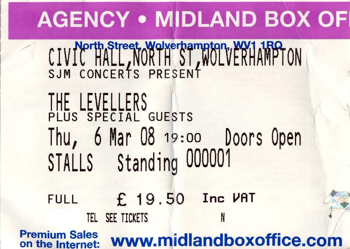 06 March 2008: Levellers - Beautiful Nights (Night 1), Civic Hall, Wolverhampton, England, UK