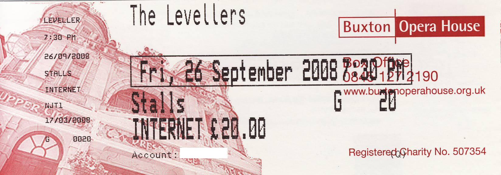 26 September 2008: Levellers - Opera House, Buxton, England, UK