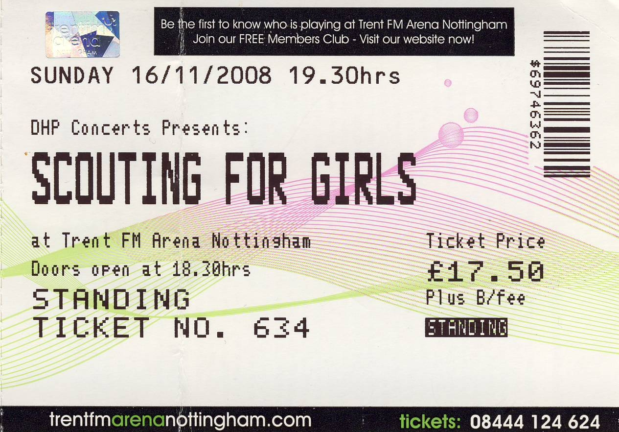 16 November 2008: Scouting For Girls + The Days + Sam Beeton - Trent FM Arena, Nottingham, England, UK